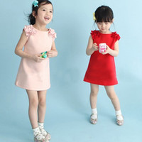 Wholesale Sleeveless Cotton Sundress - Baby Kids Clothing 2017 vintage Flower girls dresses Summer children Solid sundress Ball gowns princess costume party dress toddler clothes