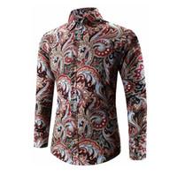 Wholesale Size Chemise - Wholesale- 2017 Spring Autumn Medusa Shirt Men's Floral Print Shirt Plus Size Long Sleeve Men Vintage Shirts 5XL High Quality Chemise Homme