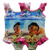 Wholesale Swim Suits For Girls - Girl Moana Swimwear baby One-Pieces grenadine Swimsuit For Big Girls children cartoon moana sling kids summer swimming suit