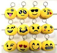Wholesale Animal Smileys - New 21 style QQ emoji plush pendant Key Chains Emoji Smiley Emotion Yellow QQ Expression Stuffed Plush doll toy for Mobile bag pendant