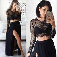 Wholesale Split Sleeve Occasion Dresses - Black Side Split Prom Dresses 2017 Girls Sexy Sheer Two Piece Long Sleeve Evening Gowns Lace Formal Women Special Occasion Dress