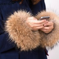 Wholesale Raccoon Cuffs - Wholesale- ZDFURS * winter women's coat cuff fashion fur accessories Bracelet Wristband real raccoon fur cuff ZDC-163009