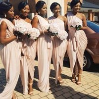 Wholesale Pale Blue Chiffon Bridesmaid Dress - African Bridesmaid Dresses Sexy One Shoulder Long Chiffon Pleats Pale Pink Wedding Party Dress 2017 Waist Sash Maid of Honor Gowns