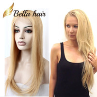 Wholesale Glueless Remy Wigs - Blonde Color #613 Hair Wigs 10-24inch Brazilian Natural Silky Straight Remy Human Hair Glueless Full Lace Front Lace Wigs Bellahair Factory