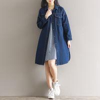 Wholesale Preppy Blouse - Women Autumn Blouses Preppy Style Lapel Neck Loose Denim Long sleeve Shirts Black and Blue colors