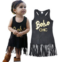Wholesale Wholesale Metallic Party Dresses - Rock Metallic Style Baby Girls Dress Summer Tassel Girls Dress Western Party Newborn Clothes Hot Sales