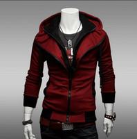 Wholesale Double Collar Hoodie Men - Wholesale-New Hoodies Men Sweatshirt Double Zip Male Tracksuit Hooded Jacket Casual s Male Hooded Moleton Assassins Creed