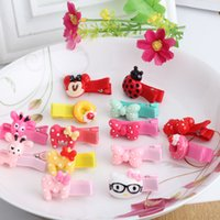 Wholesale Cheap Cute Hair Bows - Wholesale- New Cheap Price Girls Hair Accessories Lovely Sheep Kitty Hairpins Baby Headwear Cute Bow Resin Protective Hair Clip