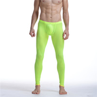hombres ajustados pantalones transparentes al por mayor-Sexy Men Mesh malla transparente erótica Ultra-delgada Gay Long Johns Ice Leggings Leggings Pants Medias calzoncillos largos ocasionales Hombres Pantalones Sheer