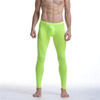 Wholesale Transparent Trouser Men - Sexy Men Mesh Transparent Mesh Erotic Ultra-thin Gay Long Johns Ice Silk Leggings Pants Tights Casual Long Underpants Men Pants Sheer