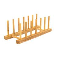 Wholesale Organizer Bamboo - Multi-Purpose Bamboo Plate Holder and Pot Lid Organizer Dish Rack ELH013