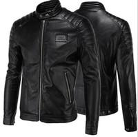 deri ceket kısa kollu erkekler toptan satış-Kısa Siyah 5XL Ceket Mens Için PU Deri Ince Erkek Ceket Palto Standı Yaka Sonbahar Vahşi Motosiklet Uzun Kollu Palto Erkekler J160814