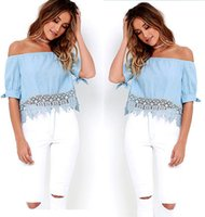 ingrosso ragazza di moda di blusas-Moda Off spalla donna Crop Top Camicette Scollo a V in cotone elegante camicette Camicetta manica casual ragazze camicetta Blusas