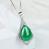 Wholesale Sterling Silver Chalcedony Jade Drop Shape pendant Necklace