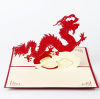Wholesale Postcard Business - New year Greeting Cards Chinese Dragon handmade Postcards Paper 3D pop up Gift for Holiday Business with envelope DHL