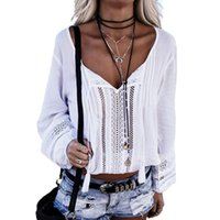 2017 Womens Sommer Lace-up V-Ausschnitt Langarm Tassel Lace Häkeln Höhle heraus lose Casual Bluse Blusas Shirt Tops