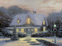 Wholesale Eve Wall - Christmas Eve Thomas Kinkade Oil Paintings Art Wall Modern HD Print On Canvas Decoration No Frame