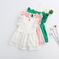 Wholesale Crochet Dress Girl New - Girls lace crochet dress 2017 summer new children lace holllow ruffle fly sleeve dress kids lace princess dress girls vest dresses A0290