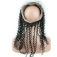 bakire saç kıvırcık kıvırcık ön toptan satış-Kinky Kıvırcık 360 Dantel Frontal Kapatma Bebek Saç Ile Moğol Bakire İnsan Saç Ön Koparıp Kıvırcık 360 Dantel Frontal 22.5 * 4 * 2