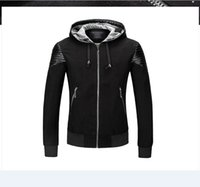 Wholesale Mens Quilted Leather - brand luxury motorcycle biker Punk leather jacket men Hooded jacket mens quilted leather bomber motor cycle jacket blouson cuir mouton homme