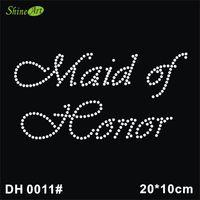 Wholesale hotfix transfers - Free shipping Maid of Honor Clear Rhinestone Iron on Hotfix Transfer Bling DIY DH0011#