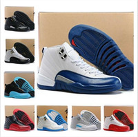 Wholesale Leather Shoes Discount Sale - hot sale air retro 12 wool men basketball shoes 12s ovo Gym Red sneakers barons black nylon athletics discount shoes