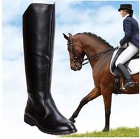 black equestrian leather - Winter New Fashion Round Yoe Martin Riding Boots Mens Military Boots Leather Knee High Equestrian Motocycle Boots Black