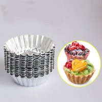 Wholesale Mini Baking - MINI Disposable flower style Aluminum foil cupcake Muffin cups Egg Tart Cup Egg Tart Mold 100Pcs