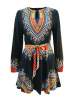 Wholesale Womens African Clothing - African Women Dashiki Dress Womens Clothing Long Sleeves Dashiki Dresses Fashion Autumn Formal party outfits fashion A Line 3xl clothes