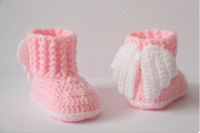 Wholesale Crocheted Baby Tennis Shoes - Wholesale- New arrival baby sneakers soft sole shoes boy's Girls handmade yarn Crochet shoes Baby Tennis shoes kids cotton First Walkers