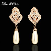 Wholesale Mother Pearls Brand Wholesale - Imitation Pearl Beads 18K Rose Gold Plated Clip Earrings Unique Chic Fashion Brand CZ Diamond Jewelry For Women Party Wholesale DFE244