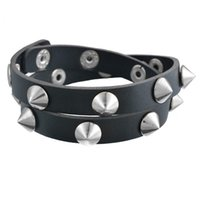 Wholesale Leather Spiked Wristbands Wholesale - Wholesale-Gothic Punk Metal Cone Stud Spikes Rivet Leather Bracelet Wristband Cuff Bangle Cool Men Women Multilayer Bracelet