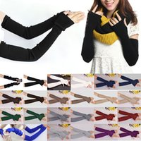 Wholesale Cheap Ladies Mittens - Wholesale- Hot New 40cm Winter Women Ladies Girl Long Cashmere Blend Gloves Arm Sleeve Warmers Mittens Wrist Arm Warmers Mittens Cheap Z1