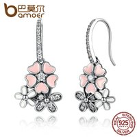 Wholesale Blossom Chandelier - BAMOER 100% 925 Sterling Silver Pink Flower Poetic Daisy Cherry Blossom Drop Earrings with Pearl Back Jewelry SCE016