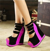 Wholesale Women Canvas Platform - Lady High Wedge Heel Sandals Buckle Open Toe ultra high heels Shoes Women's Summer Wedges Shoes Sexy platform Pumps Shoes Woman Multi Color