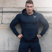 Wholesale Topcoat Hoodie - Wholesale- Gymshark Autumn new Crossfit Mens pullover Fashion leisure fitness Hoodies jackets Sweatshirts Bodybuilding sportswear topcoat