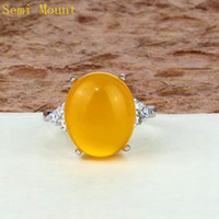 Wholesale Mounted Stone Set - Fine Silver 925 Sterling Silver Plated White Gold Crystal Engagement Wedding Semi Mount Ring 11x14mm or 12x17mm Oval Cabochon Opal Setting