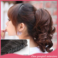 Wholesale Hairpieces For Short Hair - Wholesale- 1PC Synthetic Ponytail Hairpieces Curl Short Claw Clip Ponytail Hair Extension Black Claw on Ponytail Hairpiece For Women