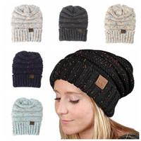 Wholesale Women Crochet Beanie - CC Knitted Hats CC Trendy Beanie Women Chunky Skull Caps Winter Cable Knit Crochet Hats Fashion Outdoor Warm Winter Hats KKA2278