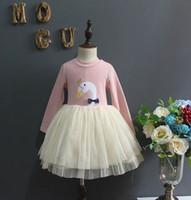 Wholesale Dress Girls Swan Long Sleeve - Kids Girls Dresses Baby Girl Swan Printed Dress 2017 Autumn Infant Girls Long Sleeve Dress for Party Princess Vestidos Children Clothes B596