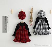 Wholesale Elegant European Hats - Autumn new style Fashion Girl three piece sets dress long sleeve T shirt+sling plaid dress+plaid hat cotton dress Autumn girl elegant dress