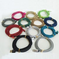 Wholesale rope edging - Fast Charging 2A Braided Rope USB Cable For Phone Samsung S6 S7 Edge Plus 1M 3ft 2M 6ft 3M 10ft Micro USB Metal Head Charger Cord Wire DHL
