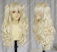 Wholesale Wig Vocaloid Curly - Free Shipping>>>Vocaloid   seeU light blonde cosplay long curly wig + 2 clip on ponytail NO97