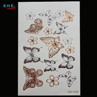Wholesale tattoo flash free shipping - Wholesale-free shipping Waterproof metal henna temporary tattoo stickers flash tattoo butterfly Temporary tattoos Body Art Tattoo