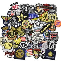 Wholesale Jeans Jacket Cool - 10PCS Badge Patches for Clothing Iron on Transfer Applique Cool Patch for Jacket Jeans DIY Sewing Accessories Ramdon Embroidery Badge