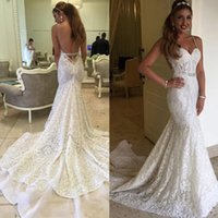 Wholesale Vintage Wedding Gowns For Sale - Vintage Full Lace Mermaid Wedding Dresses Sexy Spaghetti Straps Backless Wedding Dresses 2017 Custom Made Sheath Wedding Gowns for Sale
