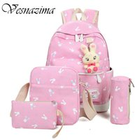 Vz Canvas School Girl Saco Mochila Kid's Rabbits Small Canvas Bag Telefone Pocket Laptop Student 'S Mochilas Pink Lilac Mochila