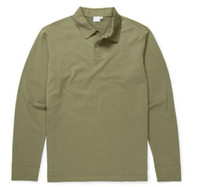özel gömlekler toptan satış-2018 Ünlü Golf iş erkek Polo gömlek uzun kollu pamuklu Midilli nakış Polos Gömlek Custom Made Klasik fit Popüler erkek polos gömlek