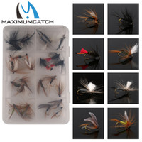 Wholesale Hook Fish Packing - Wholesale- Maximumcatch 24Pieces Mixed Dry Flies Pack set Feather Bait Hook Fly Flies Fish Hook Lures Fishing Flies