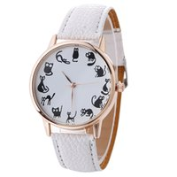 Wholesale Girl Student Dress - 2017 wholesale women black cat different actions printing watch fashion women students girls dress party quartz wrist watches